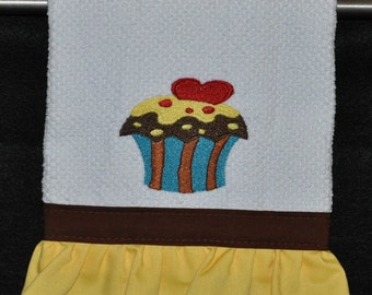 "Embroidered Dish Towel ""Chocolate Lovers"" Cupcake"