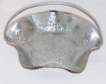 Vintage Hammered Aluminum Metal Bowl with handle   517