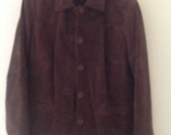 80's chocolate brown suede jacket vintage ladies coat buttoned