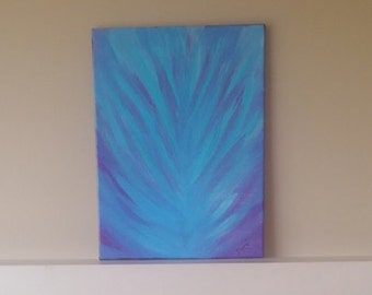 Original Acrylic Painting - Abstract painting -Blue Feather