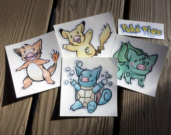 "Cute Little Pig ""Poké Pigs Set of Four Plus Logo "" Piggy Vinyl Die Cut Art Decal Indoor/Outdoor Mini Pig Pigxel Art Pokemon Nintendo"
