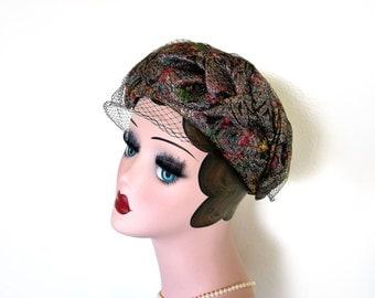 Vintage Multi Color Metallic Rounded Pillbox Hat~ Circa 1960's