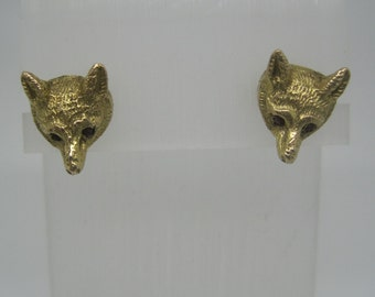 Vintage converted gold and ruby fox earrings