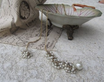 Pearl Cluster Lariat Necklace
