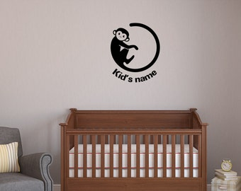 monkey decal , Monkey Décor, Horoscope sticker, customized Monkey, Nursery Decor, Vinyl Wall Decal Sticker, custom name