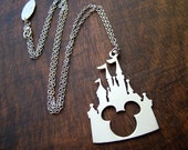 Disney castle Mickey head pendant  in white bronze or brass , handmade by hand sawing ,disney jewelry