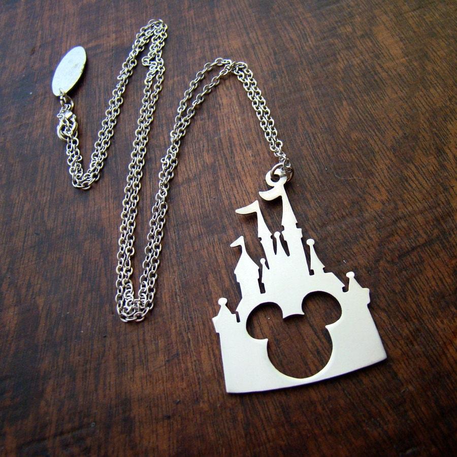 disney castle mickey pendant in white bronze or brass