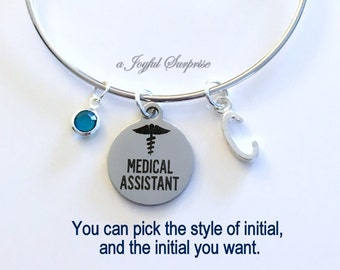 Medical Assistant Bracelet, Silver Charm Bracelet, MA Gift, MA Graduation Jewelry Bangle initial birthstone letter Personalized custom