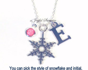 Snowflake Jewelry, Snow Flake Necklace, Winter Frozen Ice, Silver Charm Pendant Gift for Bridal Party Wedding initial birthstone Present
