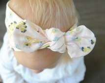 Wildflower Top-Knot Headband, Soft & stretchy cotton knit fabric, Newborn, Infant, Baby, Toddler, Girl's, Adult, Floral, Peachy Pink,