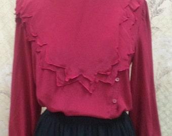 Vintage Oleg Cassini Ruby Red Blouse, Size 12