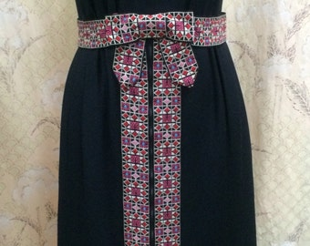 1970s Black Maxi Dress with Matching Hot Pants