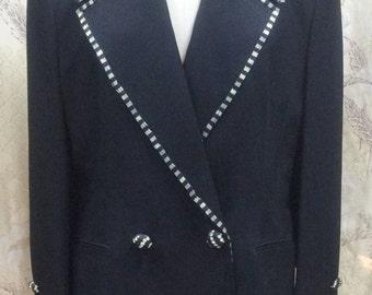 Beautiful Black Beaded Designer Suit Jacket by Solini/Size 12