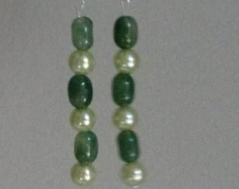 Handmade Jade Beaded Earrings!
