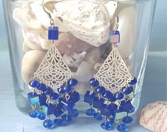 Handmade blue chandelier earrings