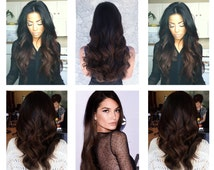"Full Set Black to Dark Brown Ombre Hair Extensions // Black to Rich Mocha Brown Ombre Extensions// Remy Clip-In Hair Extensions 18"" - 24"""