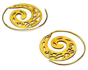 Spiral Tribal Earrings, Brass Spiral Earrings, Tribal Hoop Earrings, Brass Hoops, Indian Hoops, Ethnic Earrings, Indian Jewelry