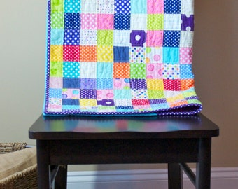 Baby Quilt with Bright Colored Polka Dot Fabric