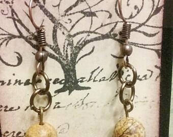 Picture jasper bronze earrings, bronze earrings, stone earrings