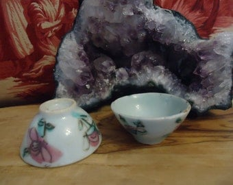 Famille Rose Rice Wine Cups Miniature Size Chinese Qing Dynasty Footed Porcelain Celedon with Hand Painted Floral Design