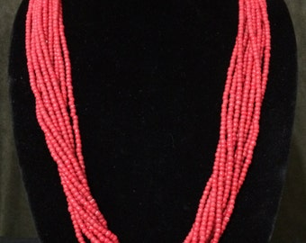 32'' Vintage Ten Strand Red Bead Necklace.