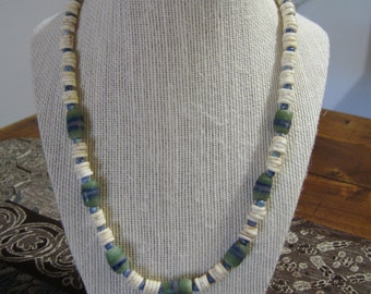 19''surfers sand pressed bead and Ostrich shell necklace.