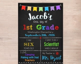 First day of School Sign, First Day of 1st Grade Sign, 2nd 3rd 4th, Boy Girl Chalkboard Poster, 1st Day Back to School, Printable, ANY GRADE