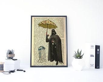 DARTH VADER Print, Printable Star Wars, Father Gift Star Wars, Dictionary Page Print, Star Wars Dictionary Print, R2D2 Print, Starwars Art