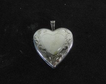 Vintage Sterling Silver Heart Shaped Photo Locket