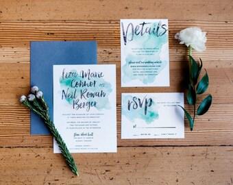 Watercolor Wedding Invitations // Watercolor Invites // Brush Lettering //  Green Watercolor /