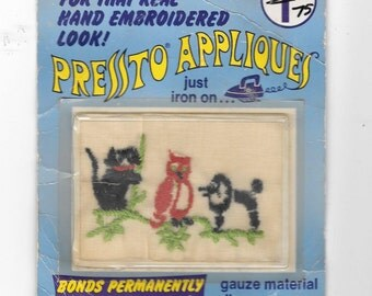 Vintage 1975 Pressto Iron-On Embroidered Appliques Cat, Owl, Poodle No Sewing