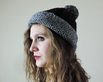 Chunky Pom Pom Hat, Color Block Beanie, Hand Knit Pom Pom Hat, Black and White Winter Beanie, Slouchy Beanie