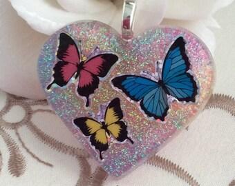 Three Butterflies Resin Pendant/Necklace/Keychain