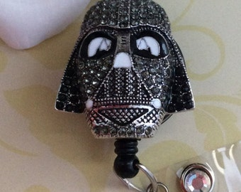 Rhinestones Darth Vader Retractable ID Badge Reel, Nurse Badge Reel