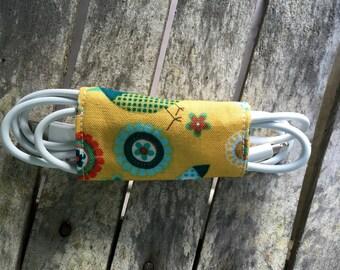 Fabric Cord Organizer, electronics keeper, tech holder, gadget keeper, wrap, organizer, handmade, headphones, compact, ties, fabric, yellow