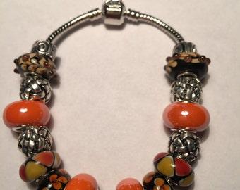 Orange and Black European Style Bracelet