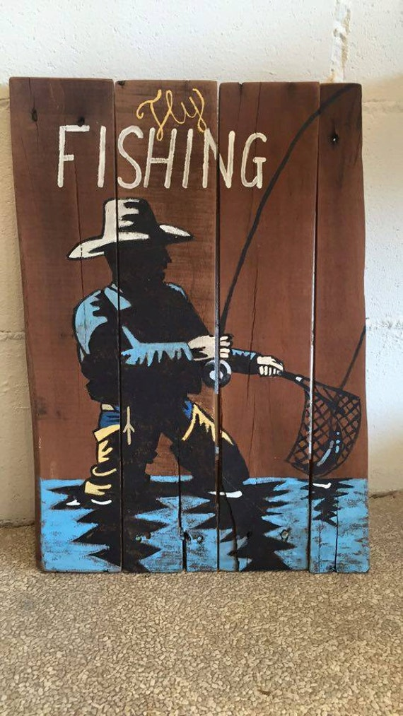 Fishing signs man cave sign fly fishing gifts man cave for Fishing decor for man cave