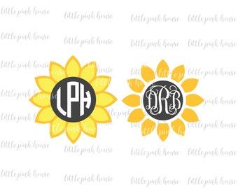 Sunflower Monogram, Sunflower SVG, Flower Monogram, Flower SVG, Monogram SVG, monogram, digital cut file, silhouette studio, svg, dxf
