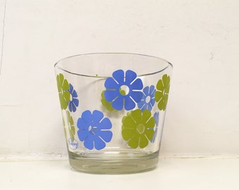 Vintage 1970s Colony Ice Bucket Blue and Green Flowers Glass Snack Bowl Hippie Mod Mid-Century Pop Art