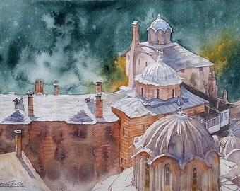 Mount Athos Hilandar Serbian Monastery Domes (print)