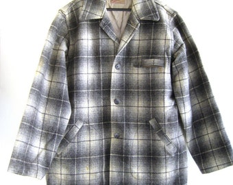 1950's Men's Plaid wool hunting jacket with quilting liner