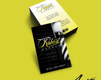Business Card Design - Custom Business Card Design - Barber - Salon - Stylist - Barbershop Black & Yellow