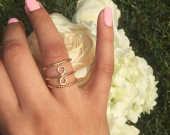 Infinity Ring Set, Gold Infinity Ring, Vertical Infinity Ring Set, Sideways Infinity, Ring, Trendy Ring, Infinity Ring - Gold