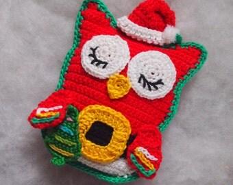 Crochet owl pattern, crochet pattern Owl Santa Claus, crochet santa claus, crochet owl amigurumi, crochet owl, crochet toy