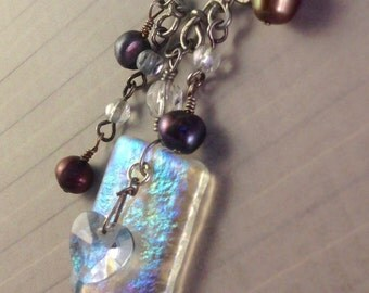 Heart Dichroic Upcycled Charm Necklace