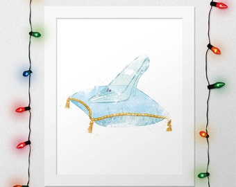 CINDERELLA SHOE, Cinderella Print, Princess Cinderella, Cinderella, Disney Watercolor, Princess Nursery, Crystal Shoe, Wall Art, Digital