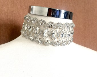 Thick Silver Crystal Choker, Silver Rhinestone Necklace, Choker Jewelry