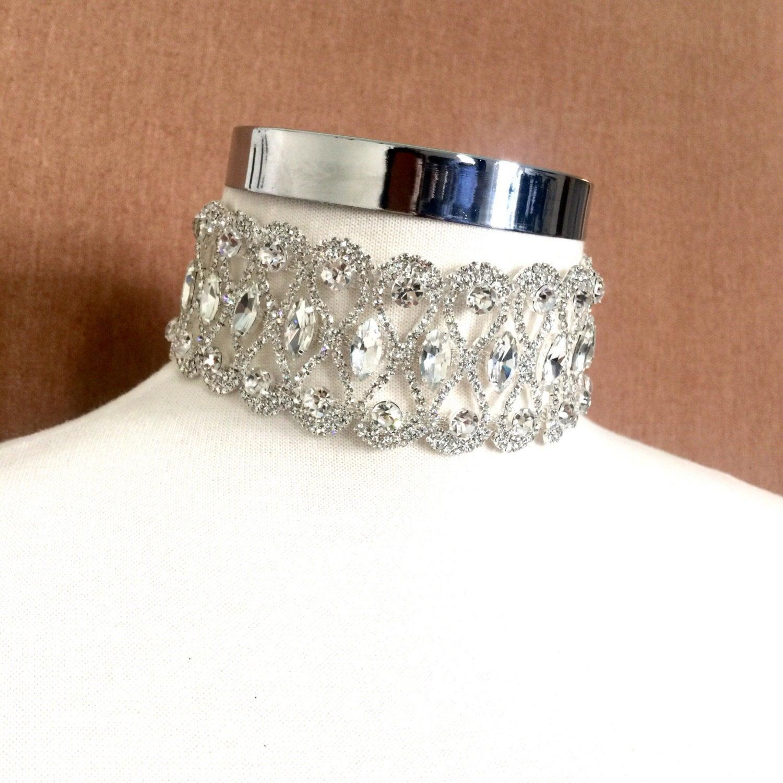 wide crystal choker hsn wedding rings Thick Silver Crystal Choker Silver Rhinestone Necklace Choker Jewelry