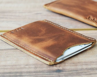 Minimalist card Sleeve, leather card sleeve, slim wallet, leather card holder, front pocket wallet, No. 1