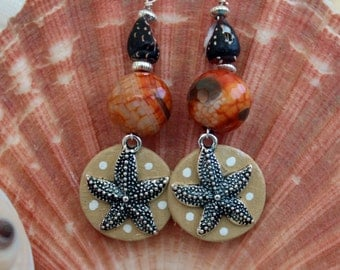 Starfish Earrings, Beach Earrings, Casual Earrings, Beach Jewelry, Handmade Jewelry, Sea Animal Gift, Sea Animal Jewelry, Ocean Earrings